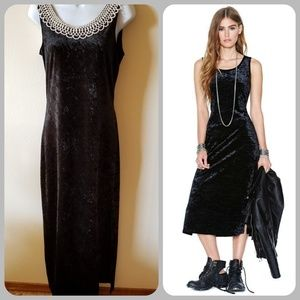 Vintage 90s crushed velvet sleeveless sheath dress